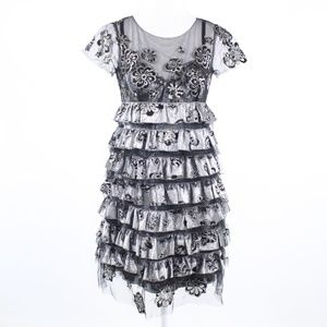 Marc Jacobs silver black lace tulle tiered dress 2
